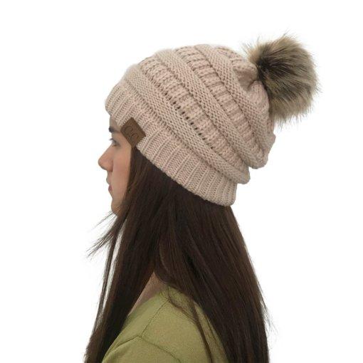 Beige 510x510 - Touca de Croche Feminina com Pom Pom