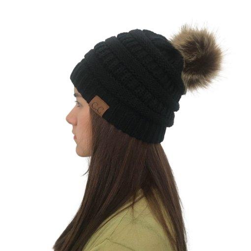 Black 510x510 - Touca de Croche Feminina com Pom Pom